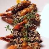 Тигровые креветки с кунжутом соусом чили